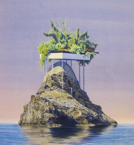 Kleptoparasitic Orphan 18x20 #plants #archiitecture #island #vintage #foliage #surreal