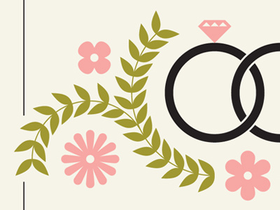 save the date #illustration #ring #flowers