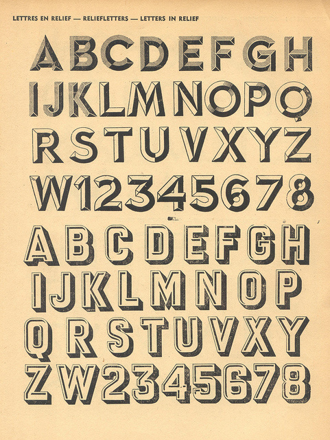 Letters in Relief : M. Moullet #type #specimen #moullet #typography