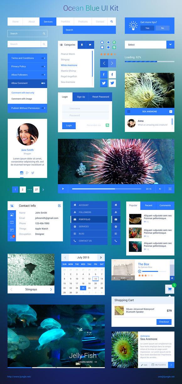 Blue Ocean UI Kit #blue #design #ui