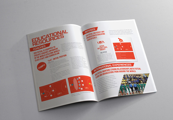 USA Futsal brochure on Behance #print #design #graphic #palette #clean #soccer #grid #minimal #usa #football #colour #brochure