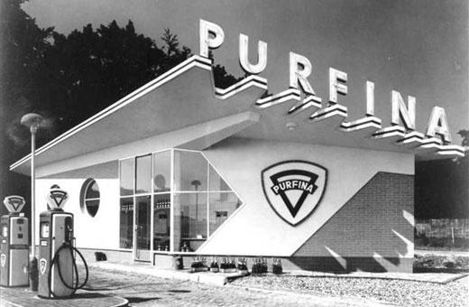 campsite | purfina petrol station #purfina #branding #petrol #building #architecture #vintage #gas #oil #station
