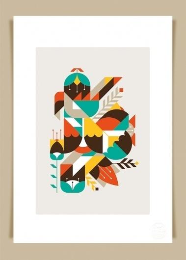 Flowers & Geometrics art print « LouLou & Tummie #illustration #color #leaf