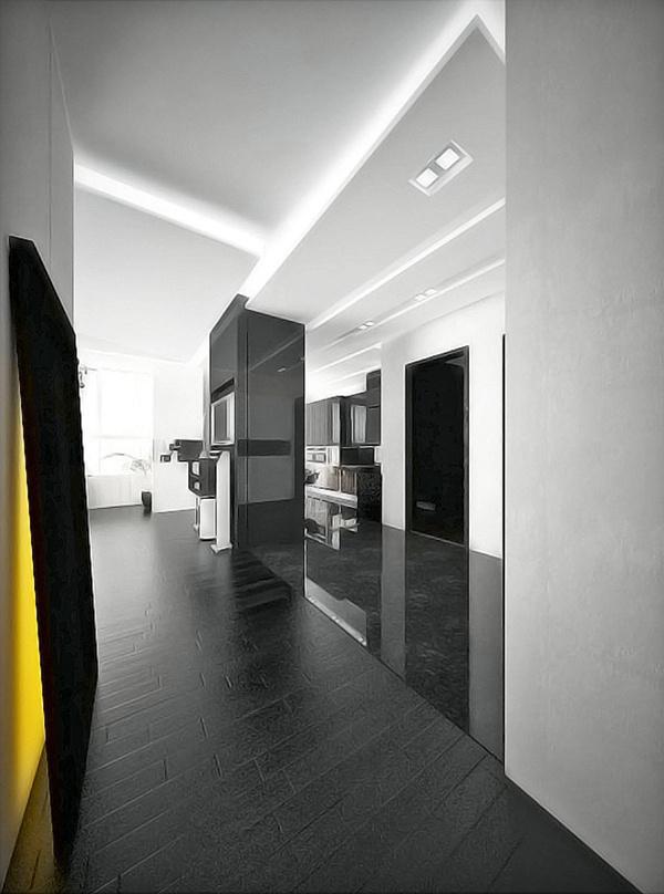 Apartment on Behance #apartment #interior #blackwhite