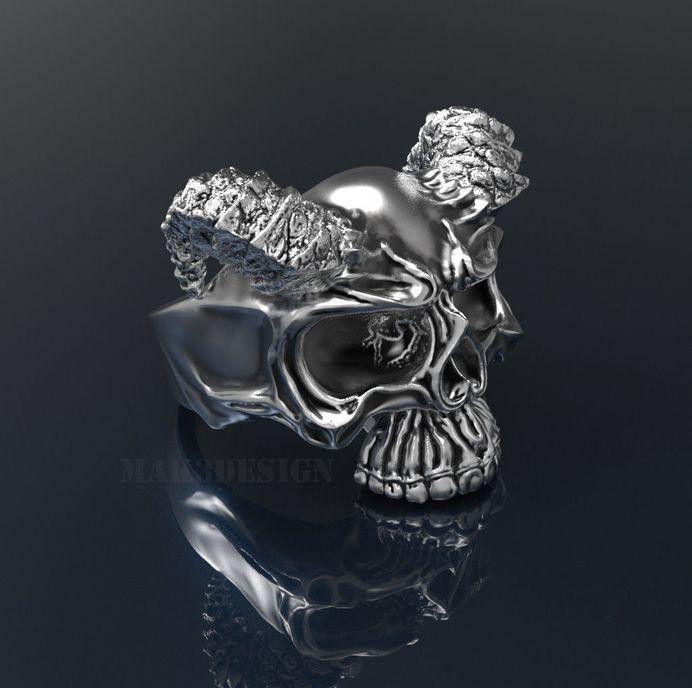 mens skull ring silver skull rings size - 20mm 3d model stl 1