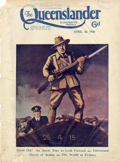 All sizes | Illustrated front cover from The Queenslander, April 23, 1936 | Flickr - Photo Sharing! #drawings #queensland #queenslander #soldier #illustration #vintage #periodical
