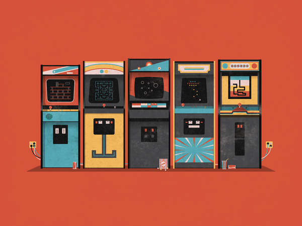 arcade_big #arcade #orange #retro #illustration #80s
