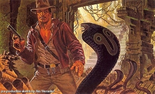 Original 'Indiana Jones' Concept Art by Jim Steranko | /Film #jones #indiana #snake #illustration #concept #art