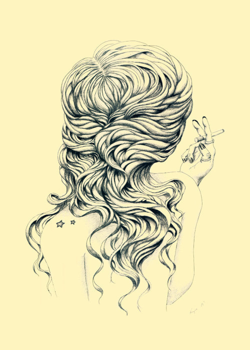 Lady with Cigarette by Anastasija Krysa #cigarette #design #hair #illustration #art #drawing