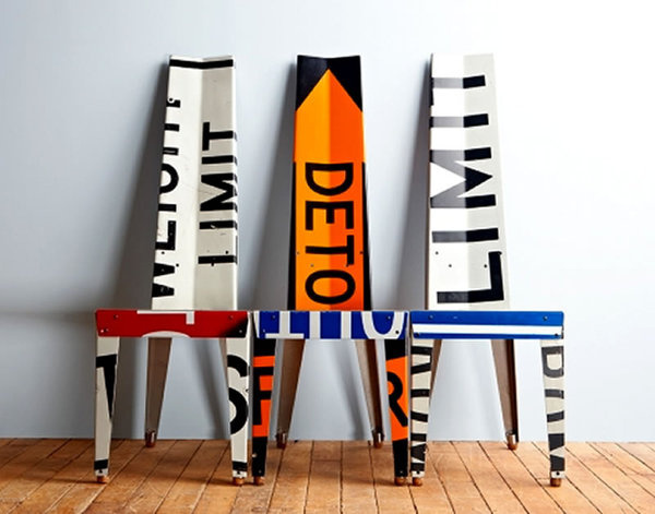 Urban Furniture Design Recycled Road Signs Boris Bally Transit Chairs #sign #recycle #chair #sustainable
