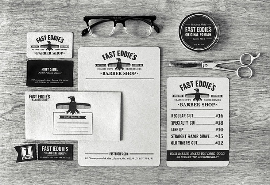 Fast Eddie's Barber Shop on the Behance Network #envelopes #white #business #bold #black #clean #collateral #letterhead #cards