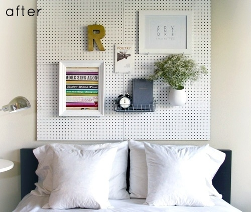Design*Sponge | Your home for all things Design. Home Tours, DIY Project, City Guides, Shopping Guides, Before & Afters and much more #diy #wall #pegboard #headboard