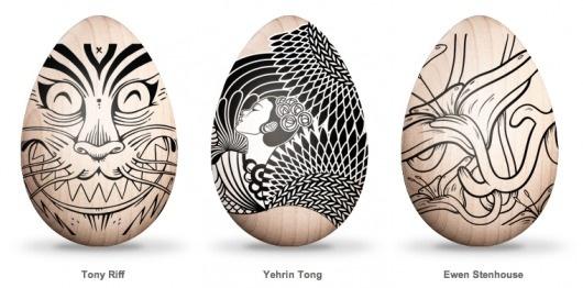 Eastern Eggs: Bot-Etched Art Eggs for Japan | Brain Pickings #easter #design #egg