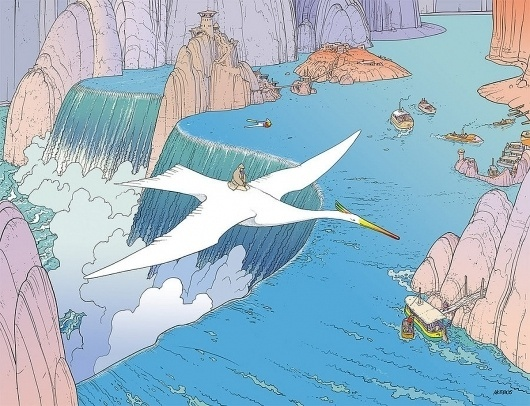 a cloud in trousers #water #asian #landscape #birds #illustration #painting #art #blue
