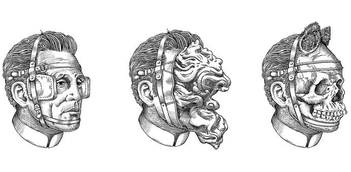 HEADS | artnau #ink #white #horror #black #illustration #face #and #surreal #sketch