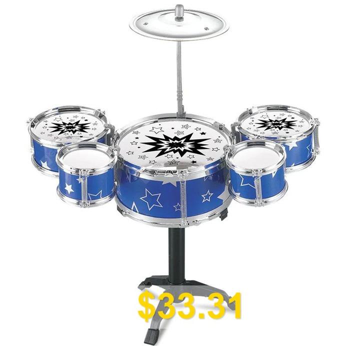 Rack #Jazz #Drum #Set #Mini #5 #Drums #Kit #Musical #Learning #Toys #- #MULTI-B