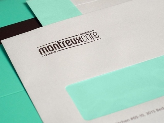Montreux Café Identity System - FPO: For Print Only #branding #food #restaurant #envelope #stationery