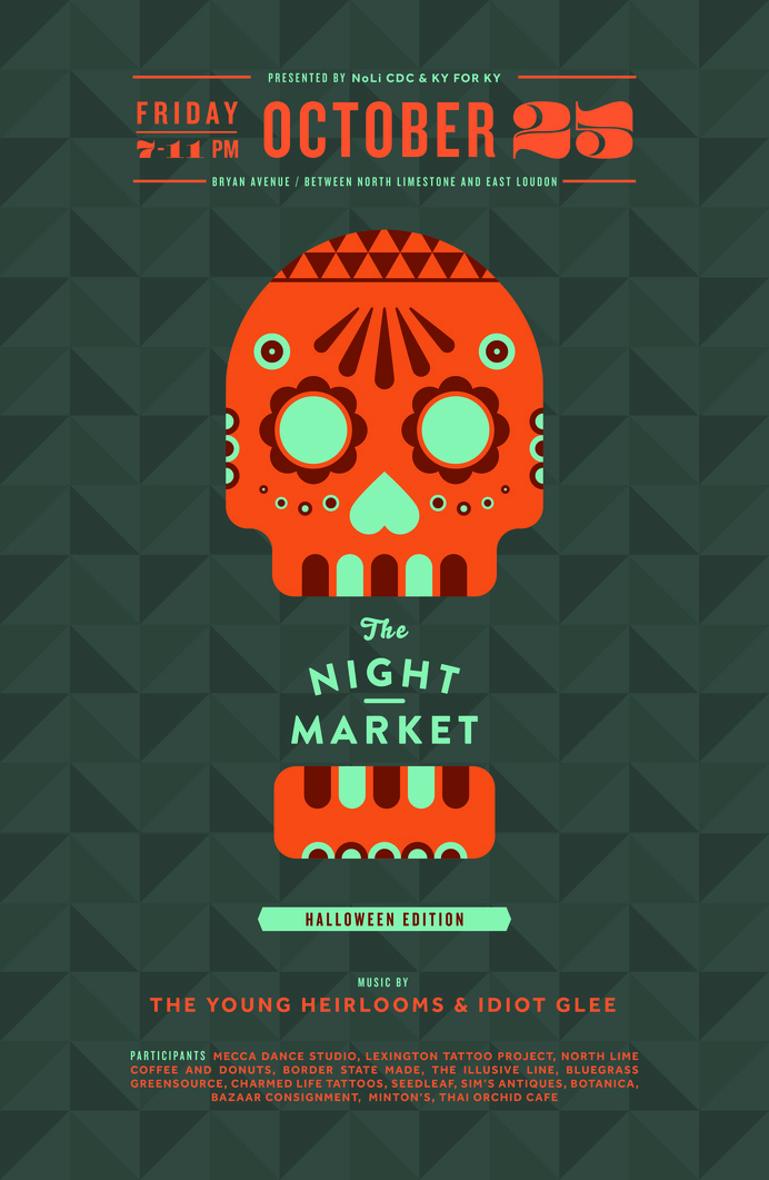 NightMarket_October #dia #halloween #los #market #pattern #event #design #de #publicity #night #poster #muertos