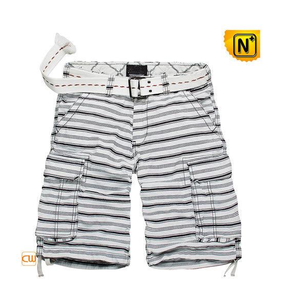 Black & White Striped Cargo Shorts CW144004