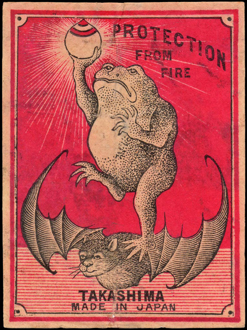 weirdvintage:Jumbo sized Japanese matchbox label, circa 1920 (via) #matchbox #bat #fire #vintage #protection #wings #frog