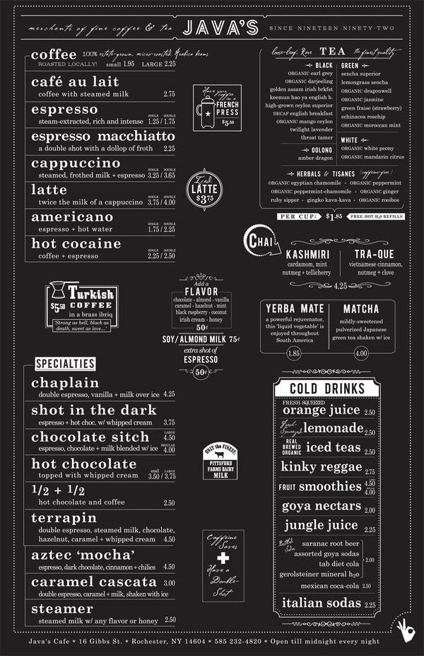 Javas #type #menu #javas