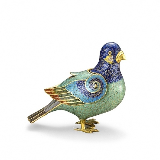 ENAMORED WITH ENAMEL: Cloisonné Rediscovered : Antique, Art, and Design News From VandM.com   DESIGNinTELL #18th #copper #dove #qianlong #gold #art #alloy