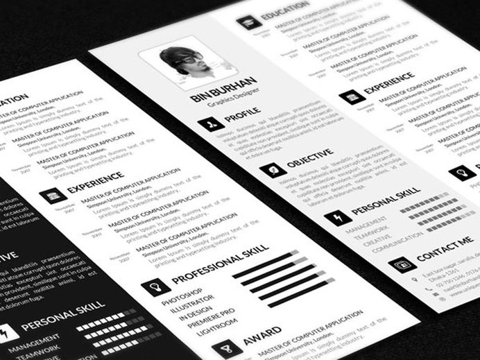 Free CV Resume Template in PSD file Format