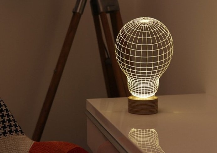 This beautiful illusion lamp creates glowing 3D images on a thin, acrylic sheet. The warm light and the unusual design brings visual interes #modern #design #product #industrial #technology