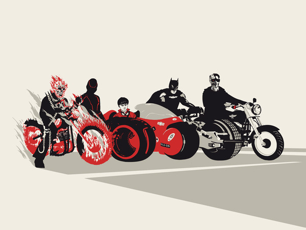 bottleneck the gang is all here Raid71 #bikes #tron #batman #hellrider #illustration #terminator