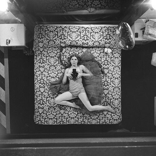 Art Sponge #white #woman #self #erin #black #monochrome #portrait #bed #and