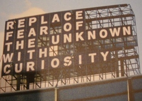 FFFFOUND!   Replace Fear with Curiosity #type #letters #plates #image