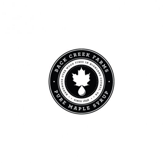Back Creek Farms on Branding Served #branding #syrup #black #label #maple #logo #creek #typography