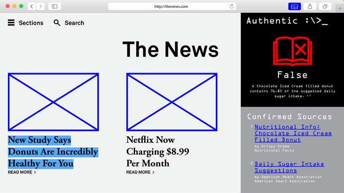 Authentic – A fact checking web browser plugin. #concept #web #ui #ux