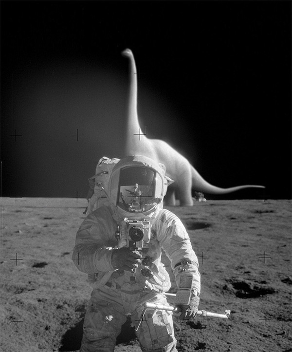 Surreal Digital Illustrations by Tebe Interesno #photo #astronaut #fi #sci #manipulation #dinosaur #surreal