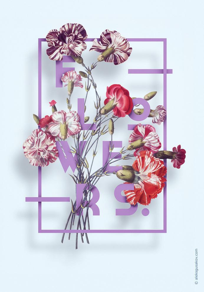 Flowers. by Aleksandr Gusakov #flower #flowers #illustration #typography