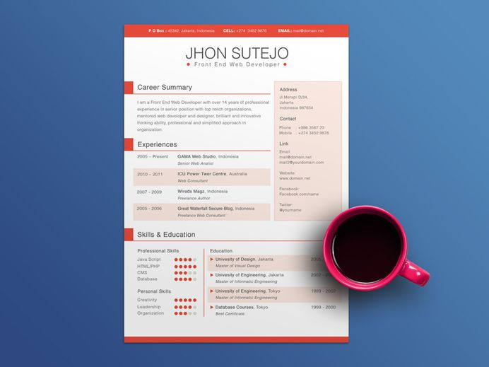 Free 5 Colors Resume Template for Any Job Opportunity