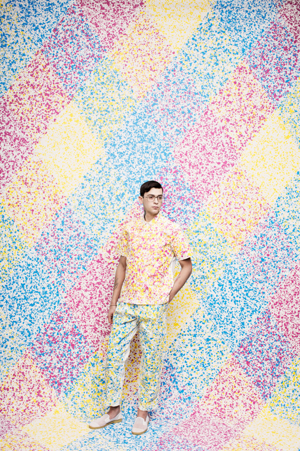 "JUCOÂ | Â Â http://jucophoto.com""Personal shoot by JUCO backgrounds hand painted by Julia Galdo and Cody Cloud. Make up by Nicole Servin #model #pattern #cmyk #dots #male #fashion"