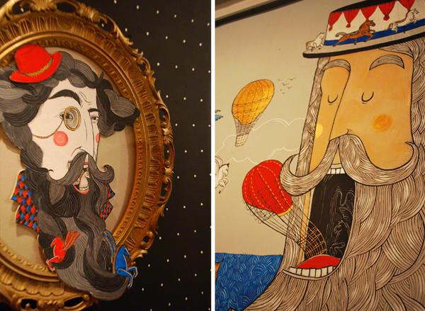 Zaczarowana Walizka #interior #pattern #beard #retro #dots #balloon #illustration #wall #bar #art #street #painting #gold #character