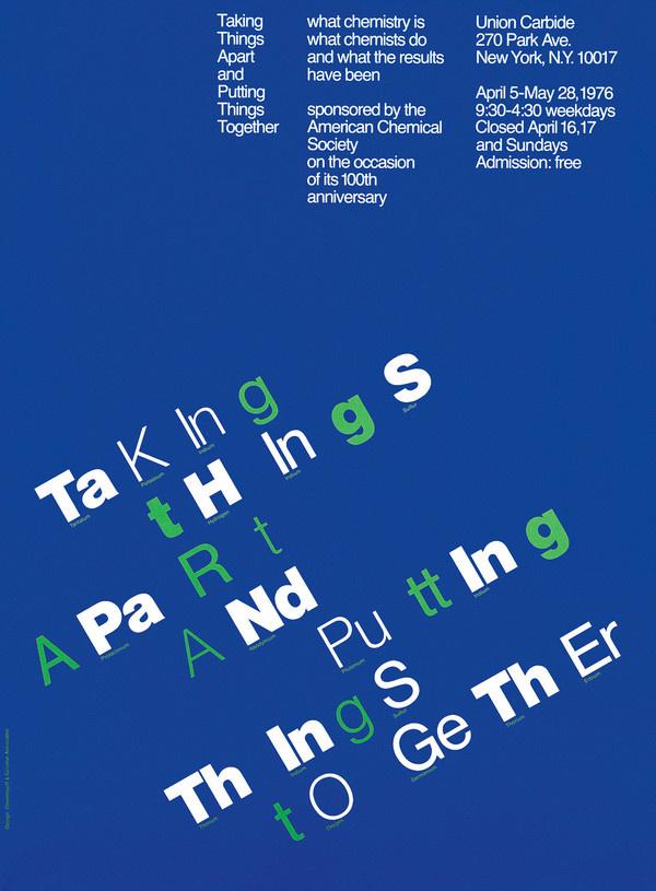 Taking Things Apart... Chermayeff & Geismar Associates, New York, New York, 1982 #usa #vintage #poster #typography