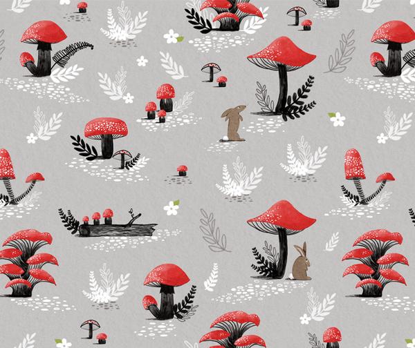 Mushroom pattern by Kayla King #mushroom #illustration #rabbit #pattern