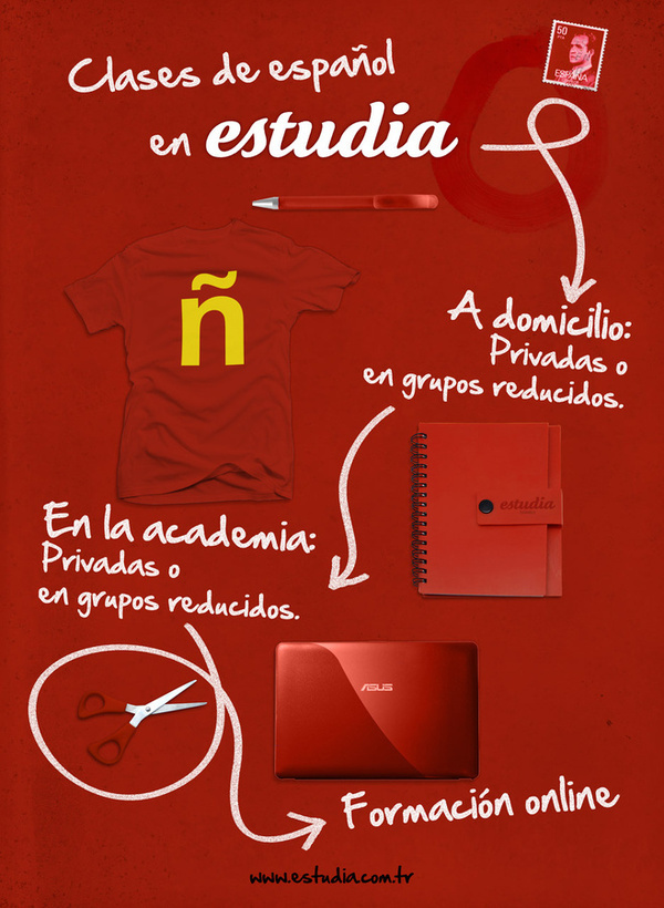 adv for estudia: spanish courses in Istanbul #academi #red #school #estudia #design #graphic #istanbul #poster