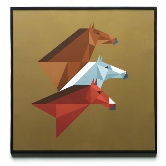 Rob Bailey #horses #rob #bailey #geometric #brown #giclee