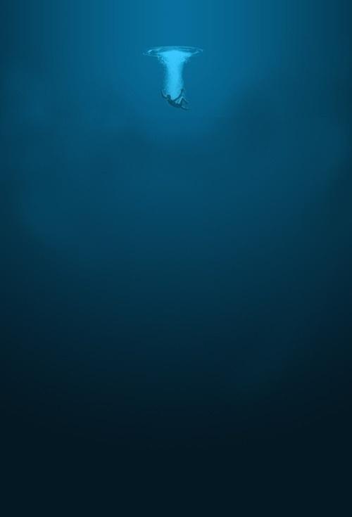 tumblr_lzrs8ffJda1qe4ld1o1_500.jpg (500×735) #ocean #sinking #minimal #poster #blue