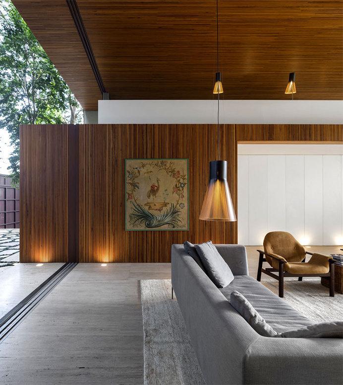 Contemporary and Fresh Tetris House by Studio mk27 elegant continuity materials living room #interior #house #design #decor #home