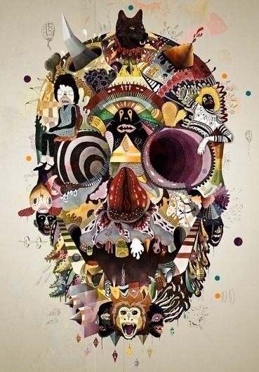 Google Reader (1000+) #voodoo #skull #collage