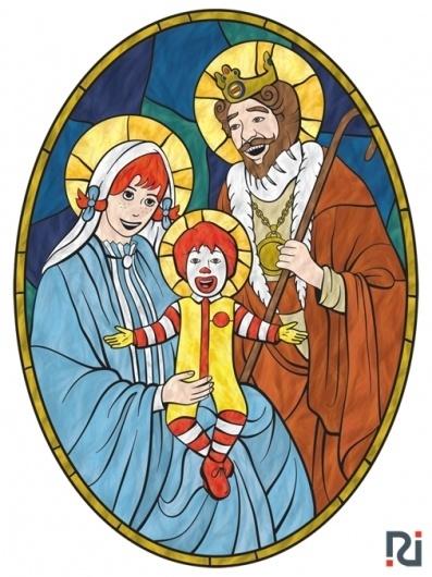 Fast Religion on the Behance Network #irven #burger #ryan #mary #ronald #mcdonald #jesus #joseph #king #wendys