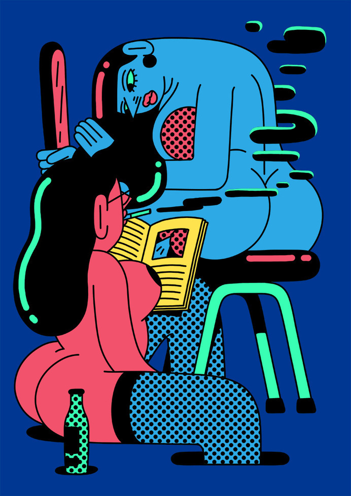 Simon Landrein #pink #women #illustration #blue