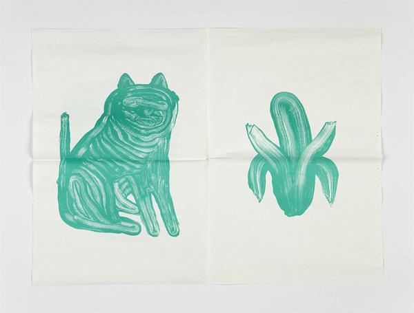 ilgtrueb.ch :: Fabrikzeitung #green #fold #banana #stroke #cat #paint #illustration #art #brush #paper #dog