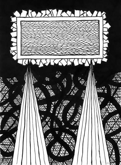 Dan Bina, Whiskey Diver #whiskey #ink #water #diver #bina #dan #paper #art #drawing