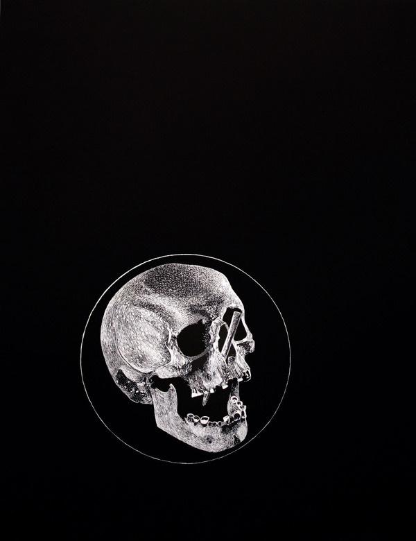 Circle,Ink -Boo Saville Copyright Boo Saville 2013 #illustration #skull #black and white #drawing #ink #circle